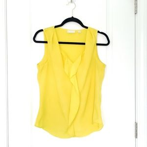 🎈NEW YORK & COMPANY yellow tank w/ ruffle details